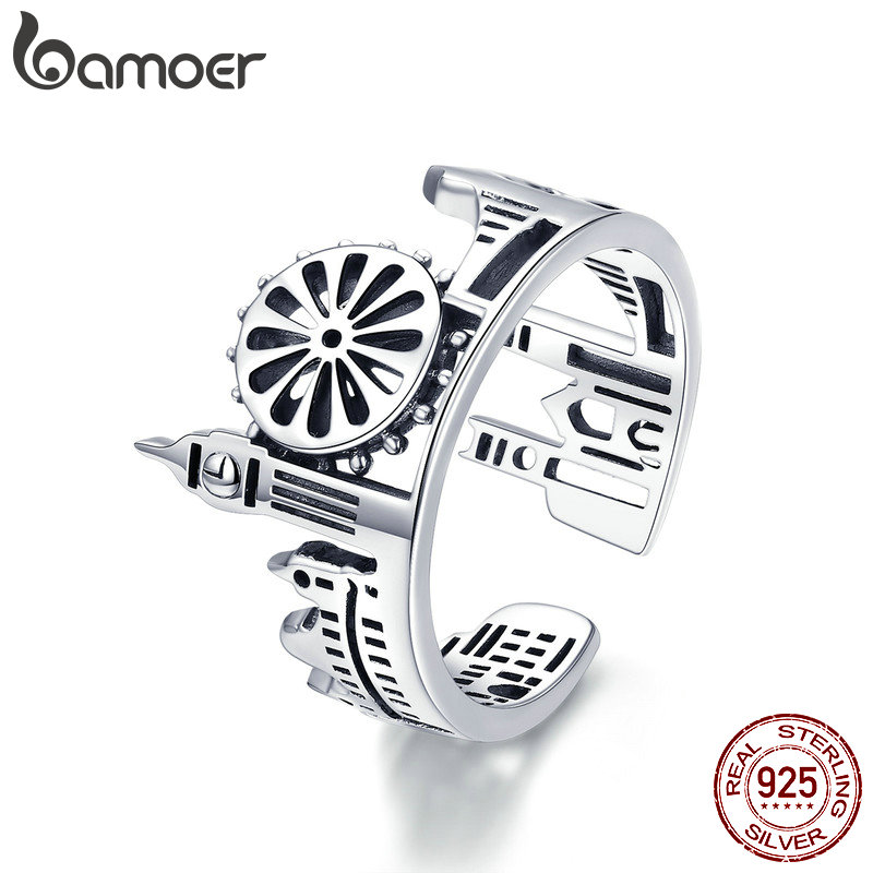 BAMOER City Sketch England London Design Finger Rings For Women Openwork Process 925 Sterling Silver Jewelry Bijoux GXR474