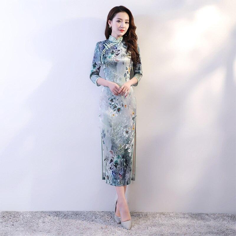 Mode dame robe style chinois à manches courtes Cheongsam femmes rayonne Qipao Slim robes de soirée d'été robes fleurs S-3XL