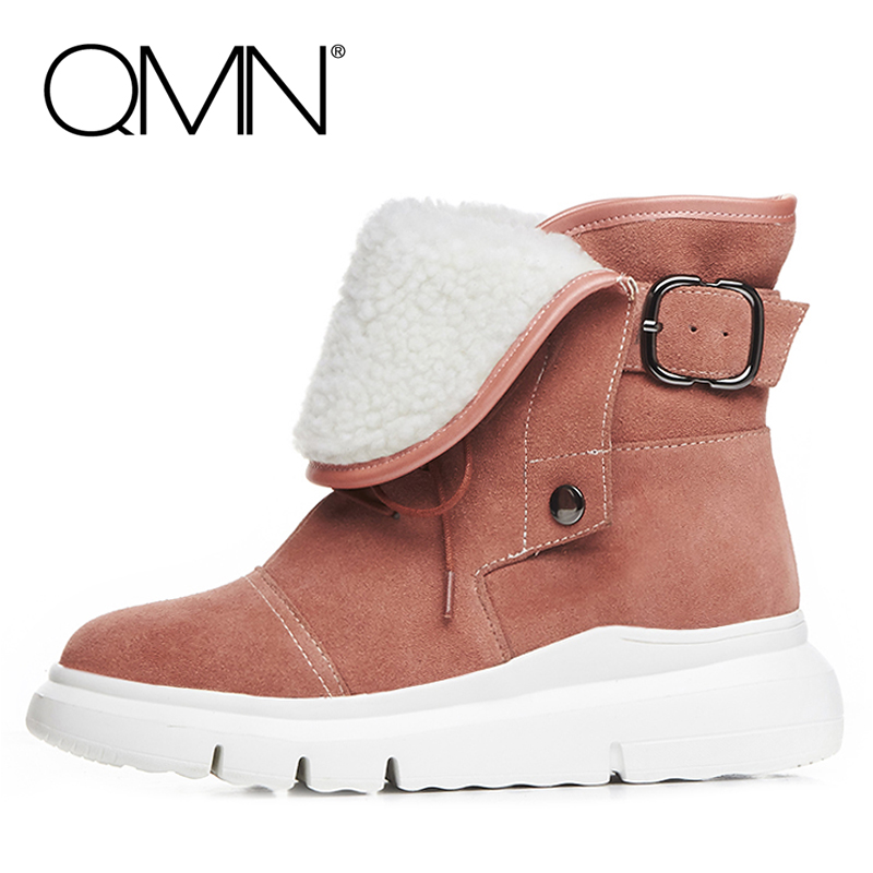 QMN genuine leather women snow boots Women Natural Suede Ankle Boots Shoes Woman Winter Boots Ladies Bootie Botas With Buckle