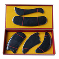 New Arrival Good quality 100% Natural black ox horn comb guasha plate fish and C shaped  5pcs/set face body massage 0032