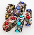 Retro Antiqued Bronze Plated Rhombus Crystal Rhinestone Bohemia Flower Open Bracelets Bangles BR10