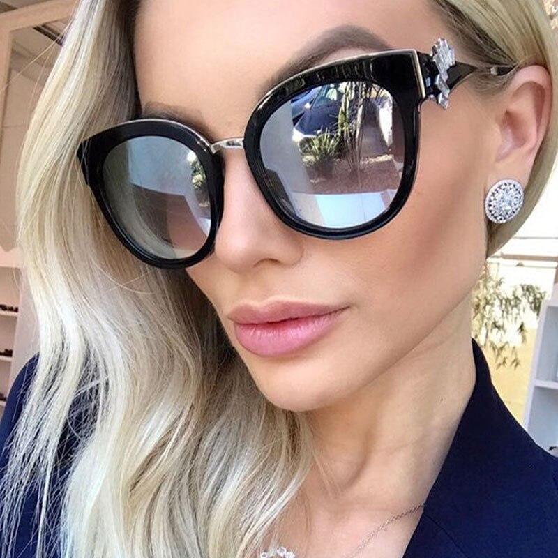 RSSELDN Rhinestone Sunglasses Women Fashion Brand Designer Vintage Cat Eye Sun Glasses Female Style Round Glasses UV400 Eyewear