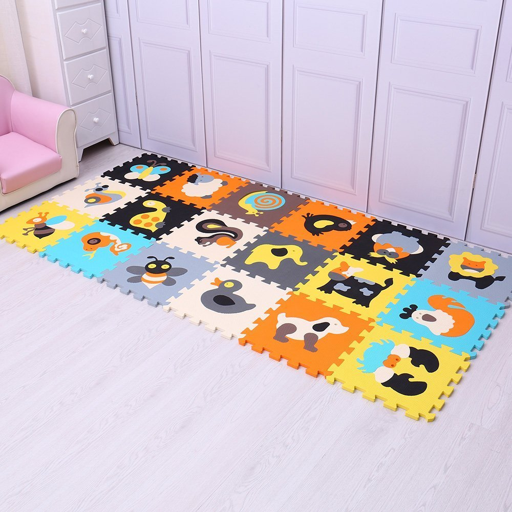 18Pcs Colorful animal Pattern Foam Puzzle Kids Rug Carpet Split Joint EVA Play Mat Indoor Soft activity Puzzle Mats For Children crew neck colorful animal pattern tee