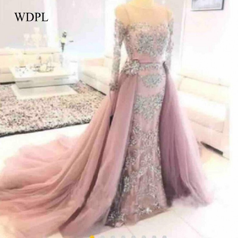 Beaded   Evening   Prom   Dresses   Pink Lace Long Sleeves   Evening   Gowns Crystals Detachable Skirt   Evening     Dress   Formal Robe De Soiree