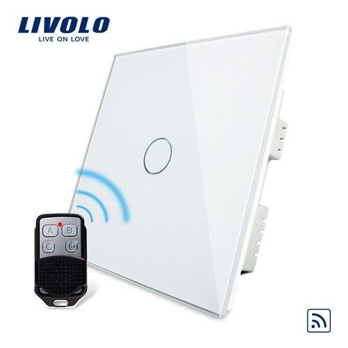 Livolo UK Стандартный беспроводной переключатель с дистанционным выключателем, сенсорный беспроводной переключатель, с пультом дистанционного управления, AC 220-250 В, C301R-61 и RMT-02 - Цвет: White
