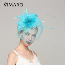 VIMARO Blue Sinamay Party Fascinator Party Hair Accessories For Women Hair Jewelry Hairbands Gift Headpiece Wedding Veil