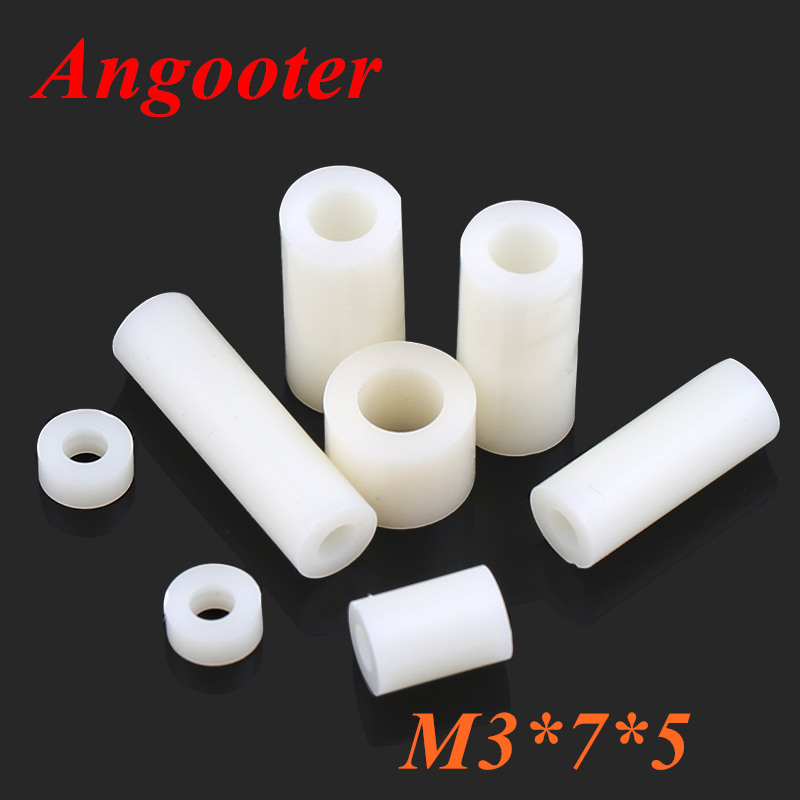 <font><b>1000pcs</b></font> <font><b>M3</b></font>*7*5 M3x5 Nylon ABS Non-Threaded Standoff Spacer Round Hollow Standoff Washer ID=3mm OD=7mm PCB Board Screw Spacers image