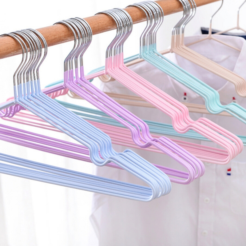 10pcs/lot Stainless Steel Clothes Hanger Non-Slip Space Saving Clothes Hangers With Hook Closet Organizer Drying Racks
