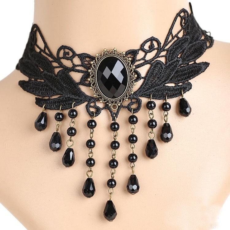 Gothic Victorian Crystal Tassel Tattoo Choker Necklace