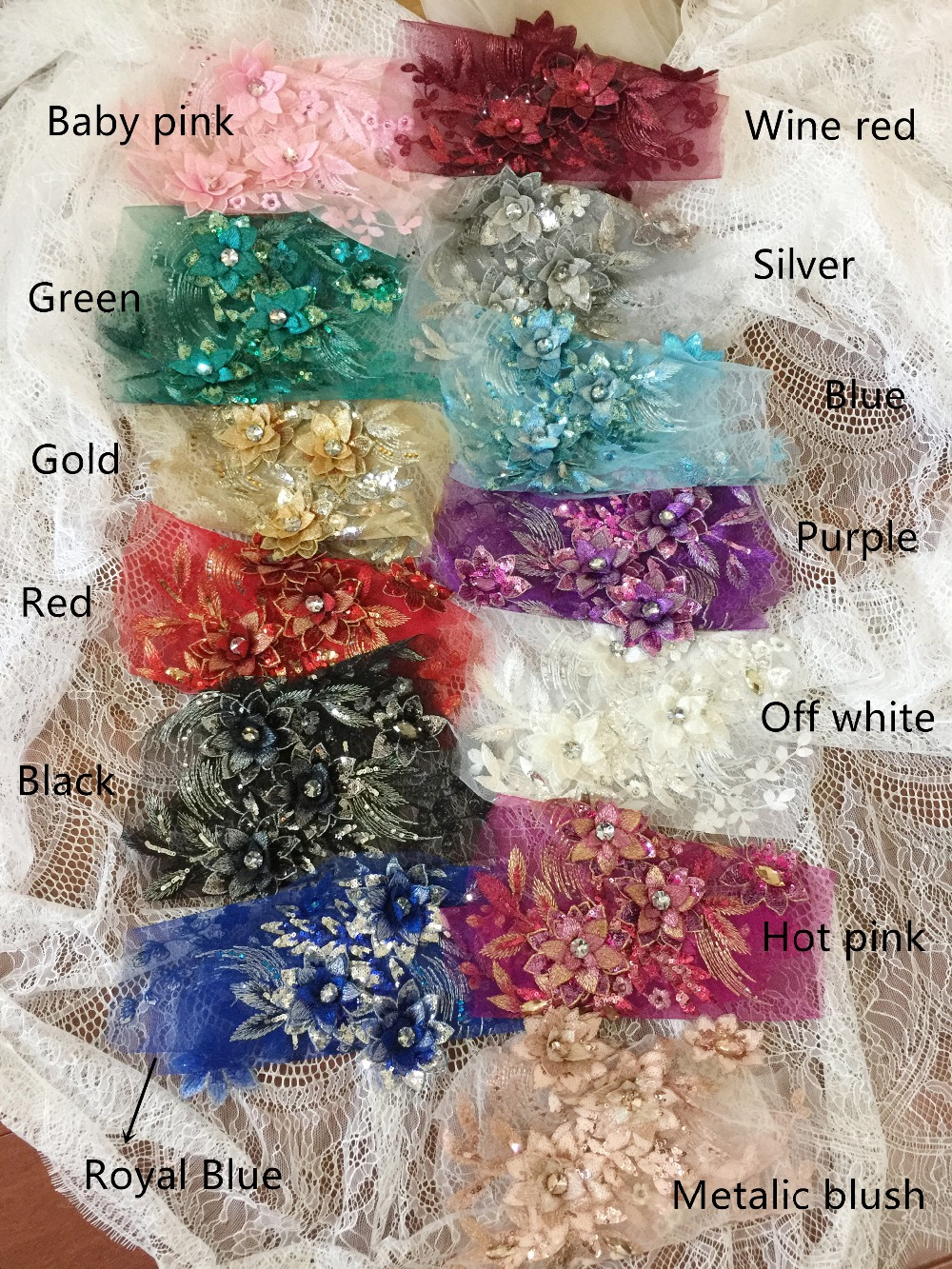 1 pc/lot 13 colors 3D Rhinestone Bead Sequin Flower Lace Applique,Embroidery Motif Patch wedding dress dance stage clothes