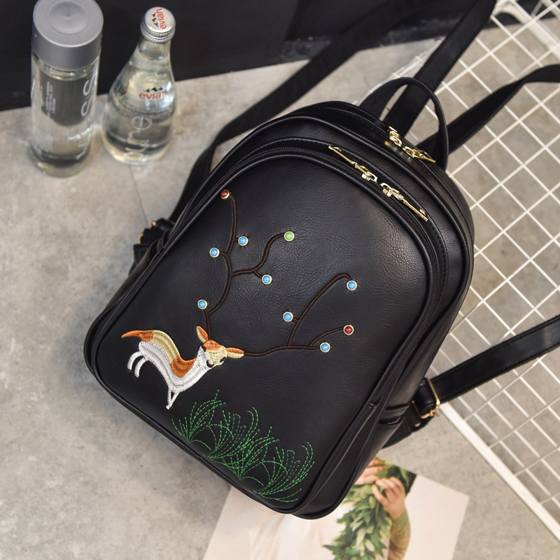 2017 Spring Summer New Backpack Wemen Fawn Embroidery Backpack Japan And Korean Style Fashion Simple PU