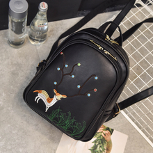 2017 сезон: весна–лето новый рюкзак wemen палевый вышивка рюкзак Японии и корейский стиль Модные Простые ПУ опрятный Стиль школьная сумка