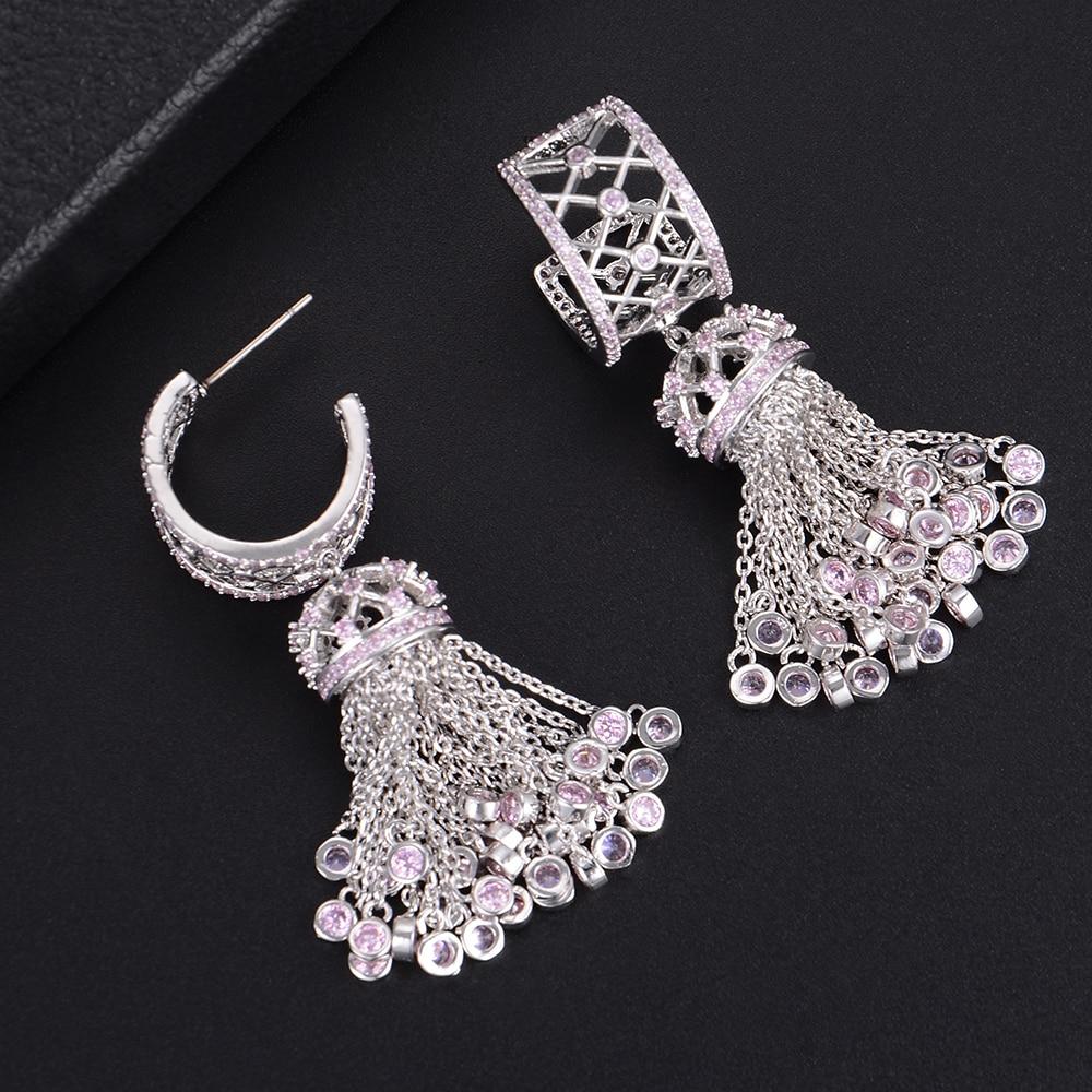 GODKI 52mm Handmade Luxury Long Tassel Drop Full Mirco Paved Microl Zirconia Naija Wedding Earring Fashion Jewelry