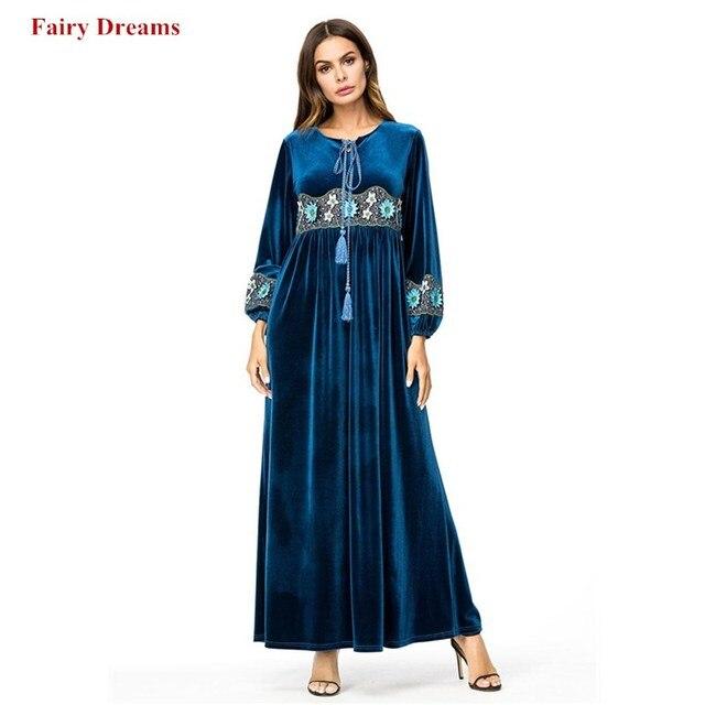 e208a727df0 Velvet Muslim Dress Plus Size Dubai Abayas Women Embroidery Tassel Blue Maxi  Dresses Long Sleeve Turkish Robe Islamic Clothing