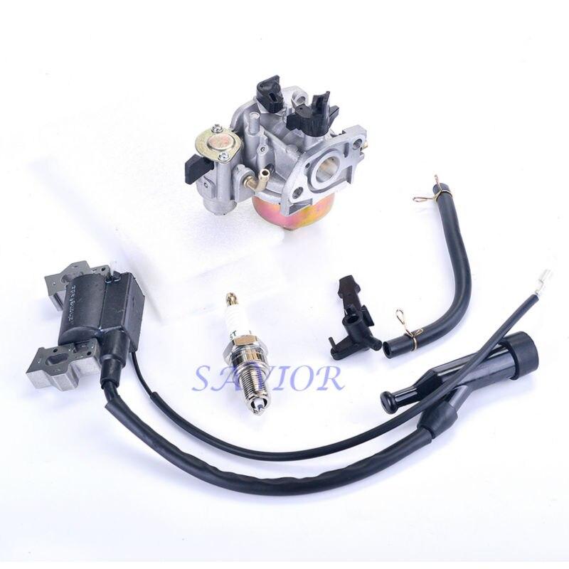 Ignition Coil + Spark Plug + Carburetor +Fuel line For Honda GX120 GX110 4HP Engine Generator Motor