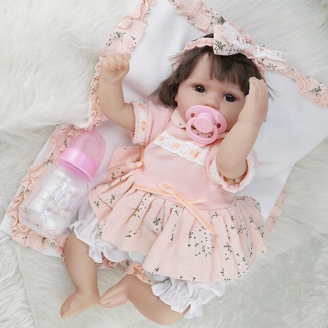 Boneca reborn 43 centímetros suave silicone renascer baby dolls com corpo de silicone lol bonecas para meninas menina bebê surpresa bebê vivo