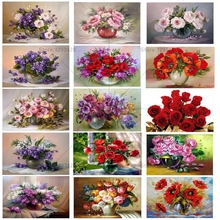 5D Diy Diamond Painting Cross Stitch Red Floral Vase Crystal Needlework Embroidery Flower Full Square Decorative