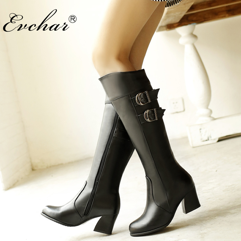 Motorcycle-Boots Pointed-Toe Mid-Heels-Buckle High-Boots Thick Women Knee Fashion Mujer