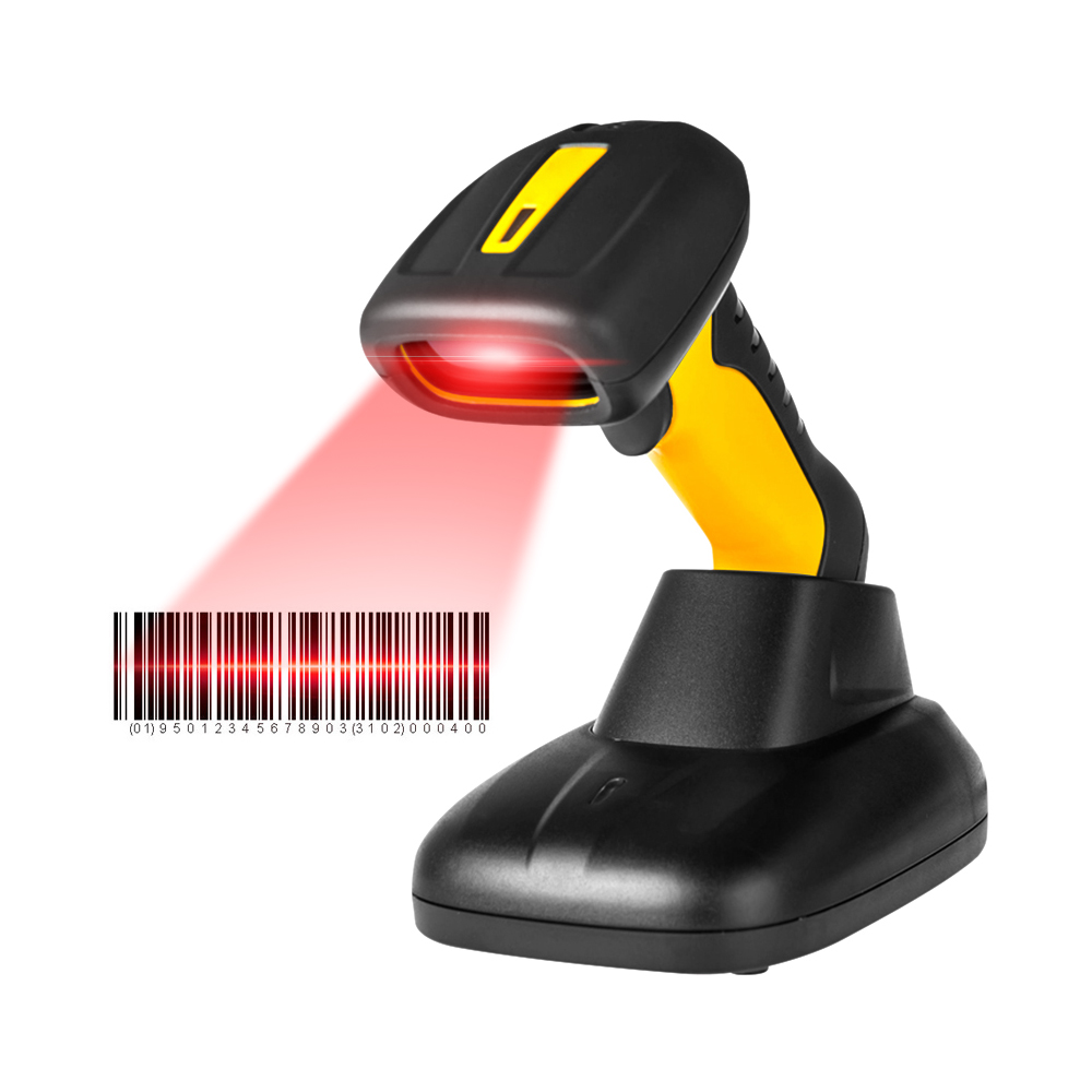 Radall RD-1205BT Barcode Scanner Handheld Wired 1D Bar Code Reader with Stand Base 256Kb Storage for POS Warehousing Postal Bank