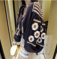 Ethnic Embroidered Ethnic Colorful Flower Print Fashion Trendy Vintage Retro Women Loose Casual Linen Cardigan Jacket Sunscreen