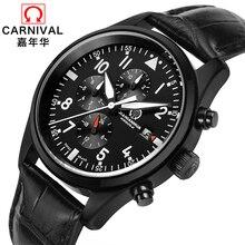 Suíça CARNAVAL Relógios Homens Multifunções Relógio Automático Marca de Luxo relogio masculino 100 m À Prova D' Água Mens Relógio de Pulso C8592-1