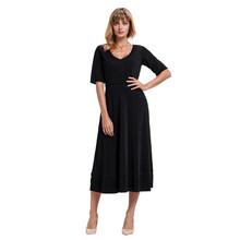 4dc0e621dc7 Liva Girl Women Casual Midi Dress Half Sleeve V Neck Elegan Dress Women  Bodycon Dresses Sexy 2018 Summer A-line Party Dress XXL