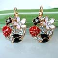 Navachi Bug Ladybug Flower Rose Enamel  Yellow GP Crystal Leverback Earrings SMT1491