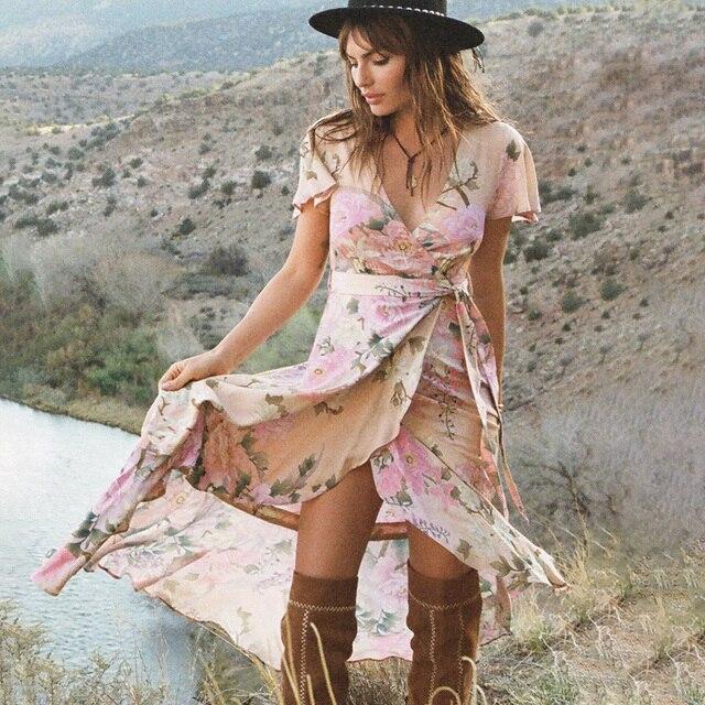 Boho Lily Floral Print Dress V-Neck Wrap Maxi Dresses Short Sleeve Casual Women Dress Bohemian Long Dresses Ruffle Beach Vestido
