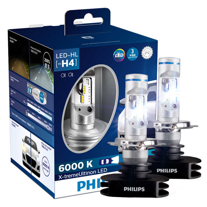 2X Philips X-treme Ultinon LED H4 9003 HB2 6000K +200% More Bright LED Car Headlight Auto High Low Beam Genuine Lamps 12953BWX2
