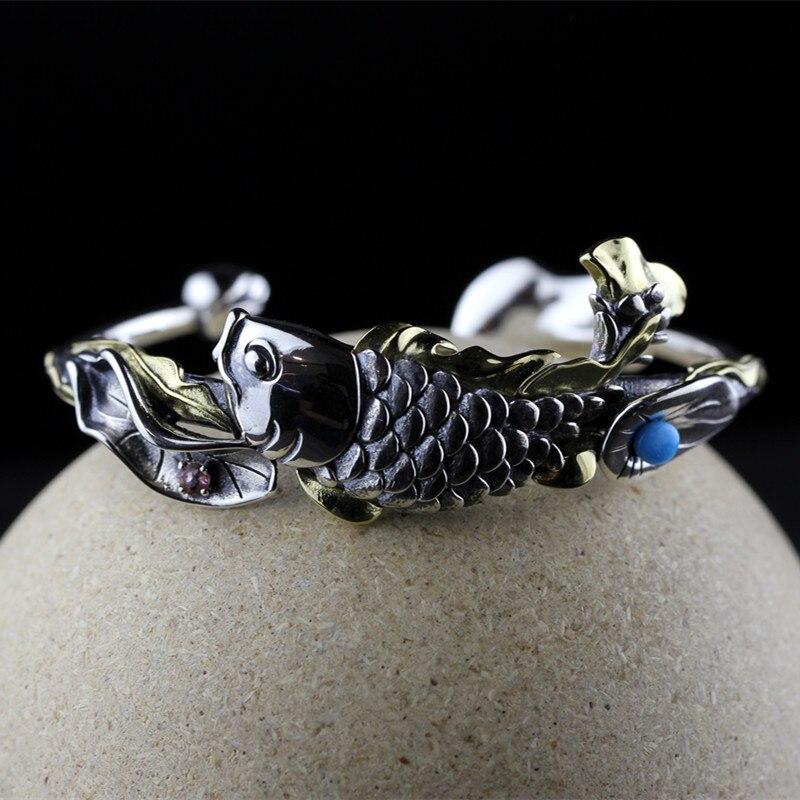 Bracelet en argent thaïlandais avec poisson et Lotus pour femmes, bijoux en pierres précieuses Tuiquoise, Bracelet en forme de fleur de Lotus, fait à la main SB59-in Bracelets et joncs from Bijoux et Accessoires    2