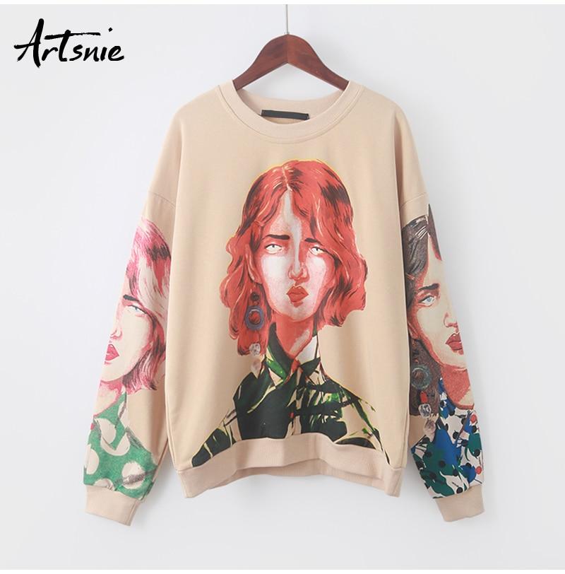 Artsnie streetwear character print women sweatshirt spring 19 o neck long sleeve pullover knitted oversized hoodie sweatshirts 8