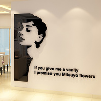 Great Actress Audrey Hepburn Pattern Acrylic Wall Sticker Living Room Cafe Shop Girl Room Home Decoration Stickers