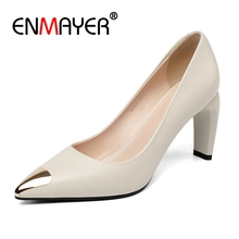 ENMAYER  Genuine Leather Pointed Toe Casual Slip-On Women High Heels Shoes Size 34-39 ZYL2554