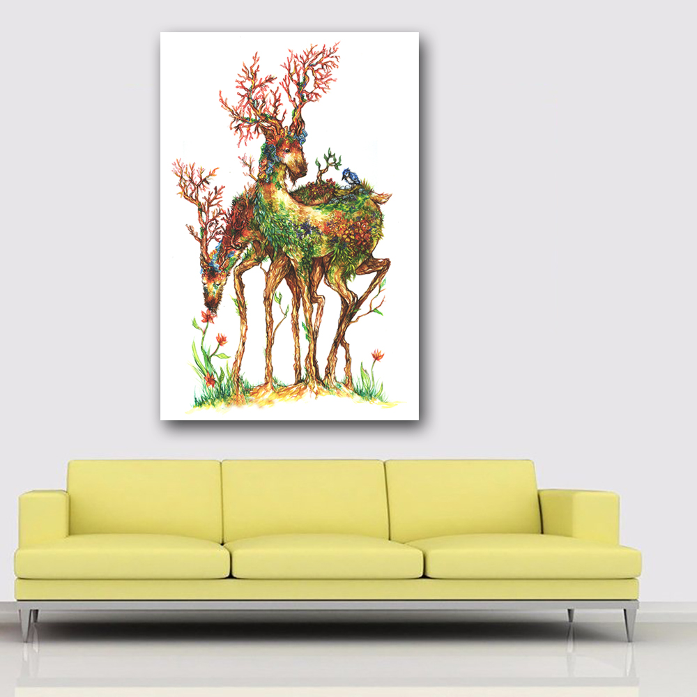 SELFLESSLY Wall Art Canvas Painting green tree Animal two Deer ...