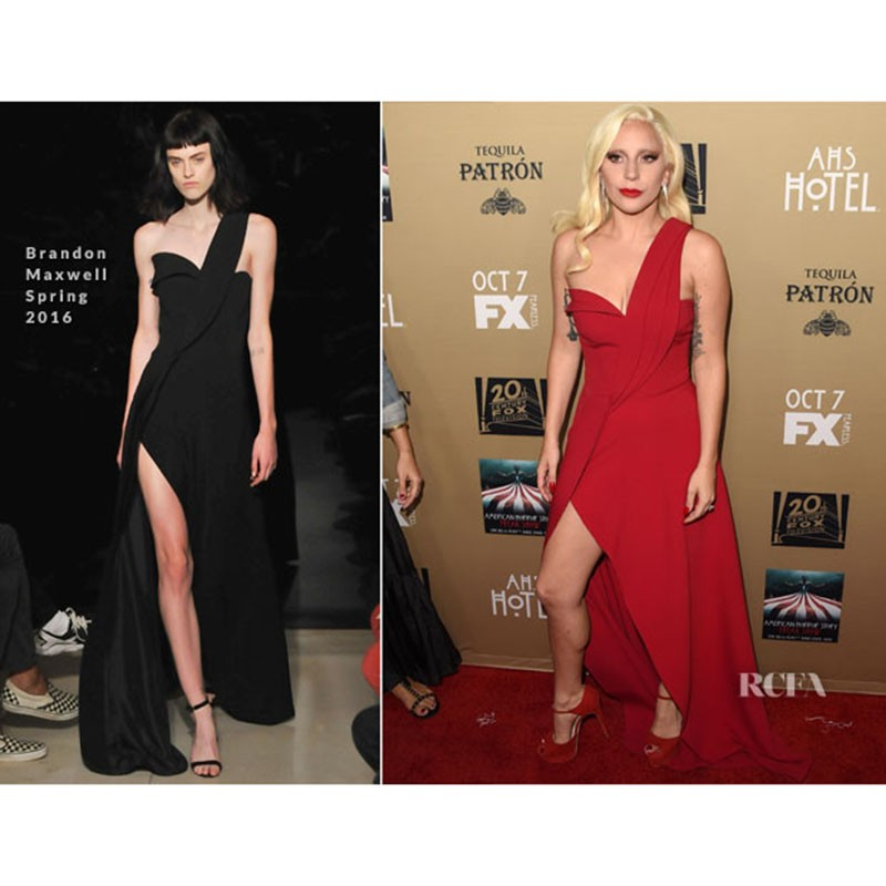 9bf39f3d86b Lady Gaga Celebrity Dresses Sexy One Shoulder Red Chiffon Draped ...