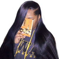 Pre Pluked Full Lace Human Hair Wigs 130% Density Brazilian Straight Full Lace Wigs With Baby Hair Honey Queen Remy