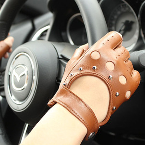 Image 4 - Mezze dita guanti in pelle primavera e lestate delle donne sottili guanti di pelle di capra new hollow brevi sport di guida del driver di