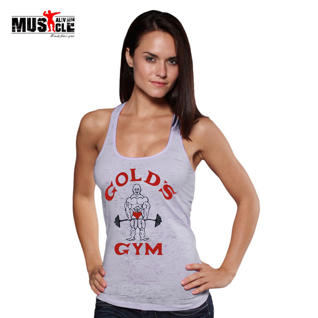 1b2b9ee0a6 Golds Tank Top Women Bodybuilding Undershirt Clothes Fitness Clothing Muscle  Vest Crop Tops Female Cotton Racerback Sportswear