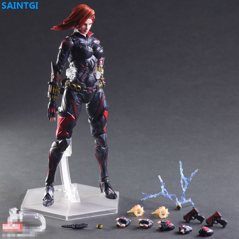 SAINTGI Marvel Avengers Assemble Black Widow kai Doll Super Heroes PVC Action Figure Collection Model Dolls Kids Toys new hot 15cm black widow super hero avengers movable action figure toys collection christmas gift with box
