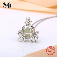 купить SG 2018 new arrival carriage glowing chains necklace&pendant 925 sterling silver diy fashion jewelry making for women gifts дешево