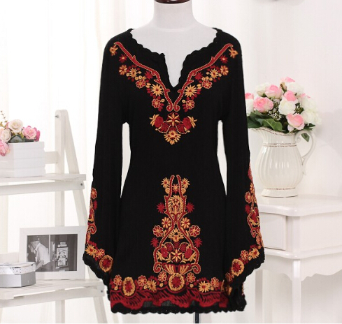 vintage clothes black embroidery womens dresses