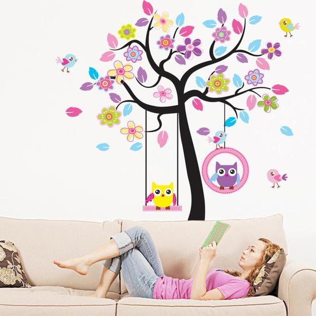 2017 vivid couleurs de bande dessinée hibou swing arbre motif diy ... - Decoration Stickers Muraux Adhesif