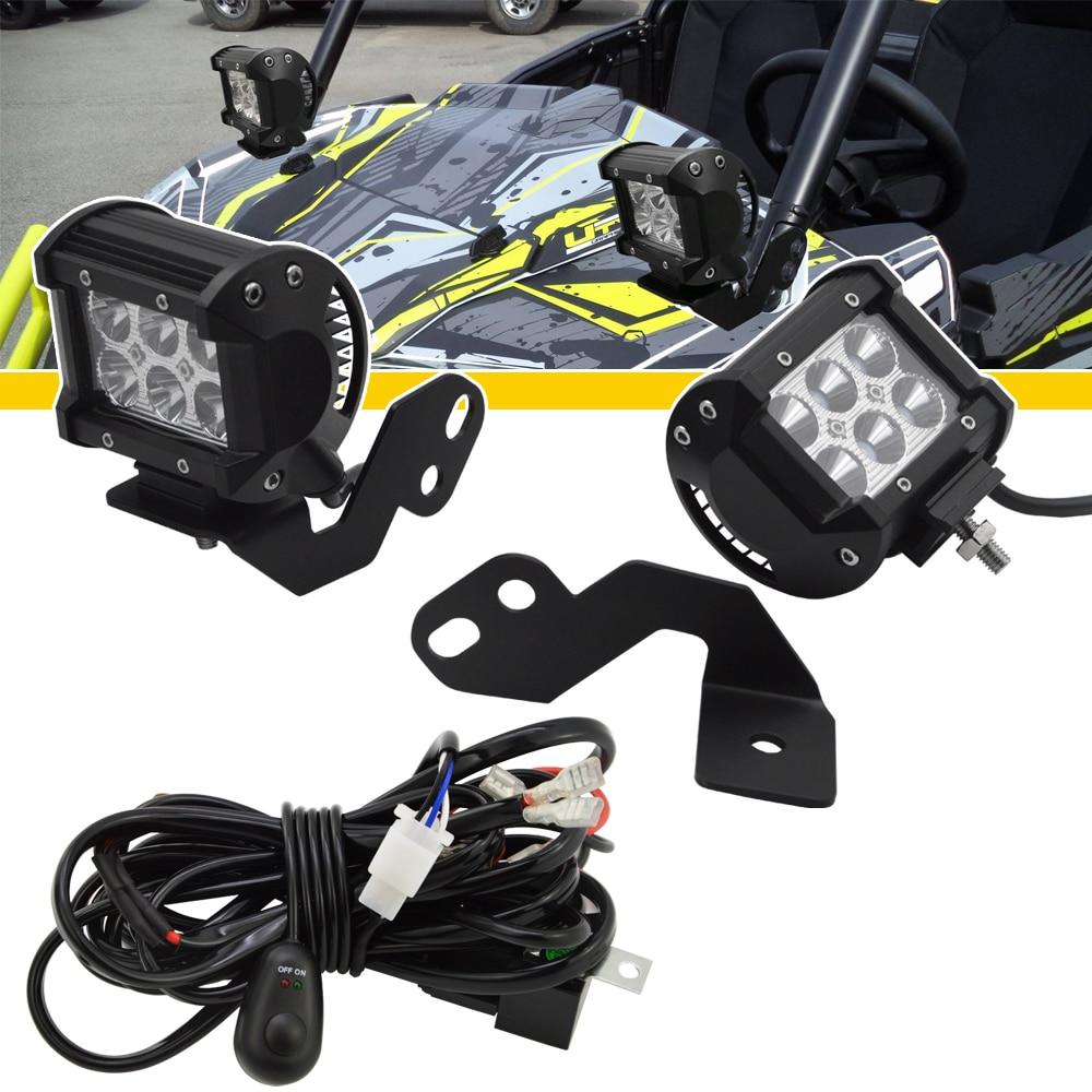 A-Pillar LED Light Pod Brackets, 4 Inch 18W LED Light Pods, Wiring Kit Fits Polaris RZR 900 1000 Turbo Models