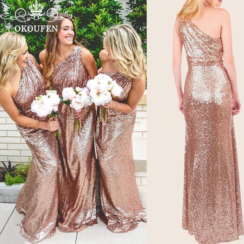 Оптовая цена длинное платье подружки невесты в стиле русалки 2019 Искрящиеся, с блестками одно плечо горничной честь вечерние для женщин длина до пола - 3