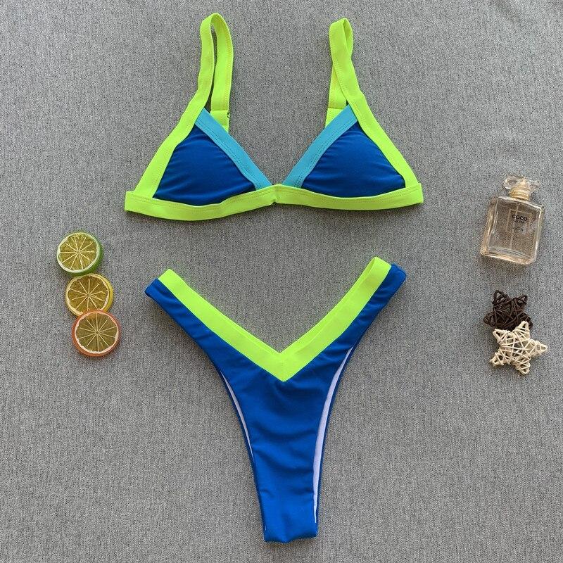 2019 лоскутный женский купальник с подвязкой сексуальный Классический комплект бикини женский неоновый купальник пуш-ап Пляжная одежда бикини для ванной