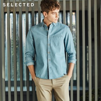 SELECTED Cotton Solid Color Business Casual Denim Men's Long-sleeved Shirt L | 417105559 1