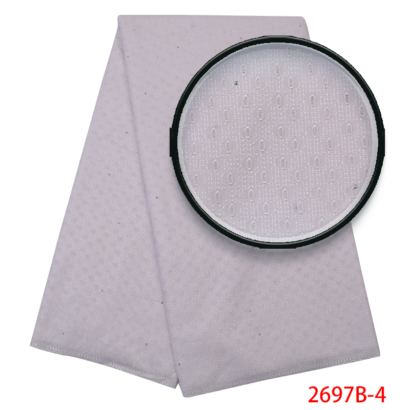 White Swiss Voile Lace Fabric 2018 High Quality,Hot Sale Nigerian Lace Fabric,African Dry Cottonwith Stones KS2697B-4