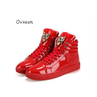 Ovxuan Glitter Metal Animal Buckle Men Dress Shoes Leopard Head Flats Red Patent Leather Casual Loafers
