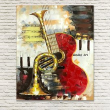 100%Handmade abstract modern oil painting,musical instrument painting, canvas wall art painting for home decoration