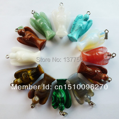(Min. Order is $10) 12pcs/lot Carved Mixed Stone Angel pendant bead (44x21x12mm) HY558